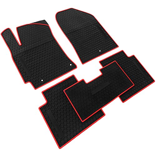 iallauto All Weather Floor Liners Custom Fit Hyundai Elantra 2017 2018 2019 Heavy Duty Rubber Car Mats Vehicle Carpet Odorless-Black Red