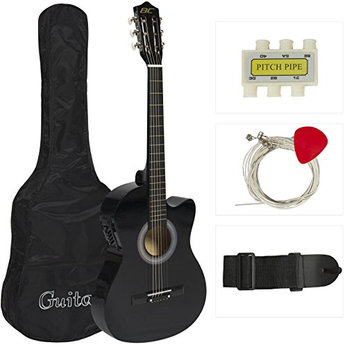 Electric Acoustic Guitar Cutaway Design With Guitar Case, Strap, Tuner Black New
