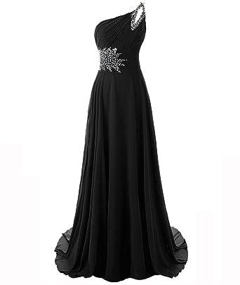 Snowskite Womens One Shoulder Long Chiffon Beading Bridesmaid Prom Dress Black 0