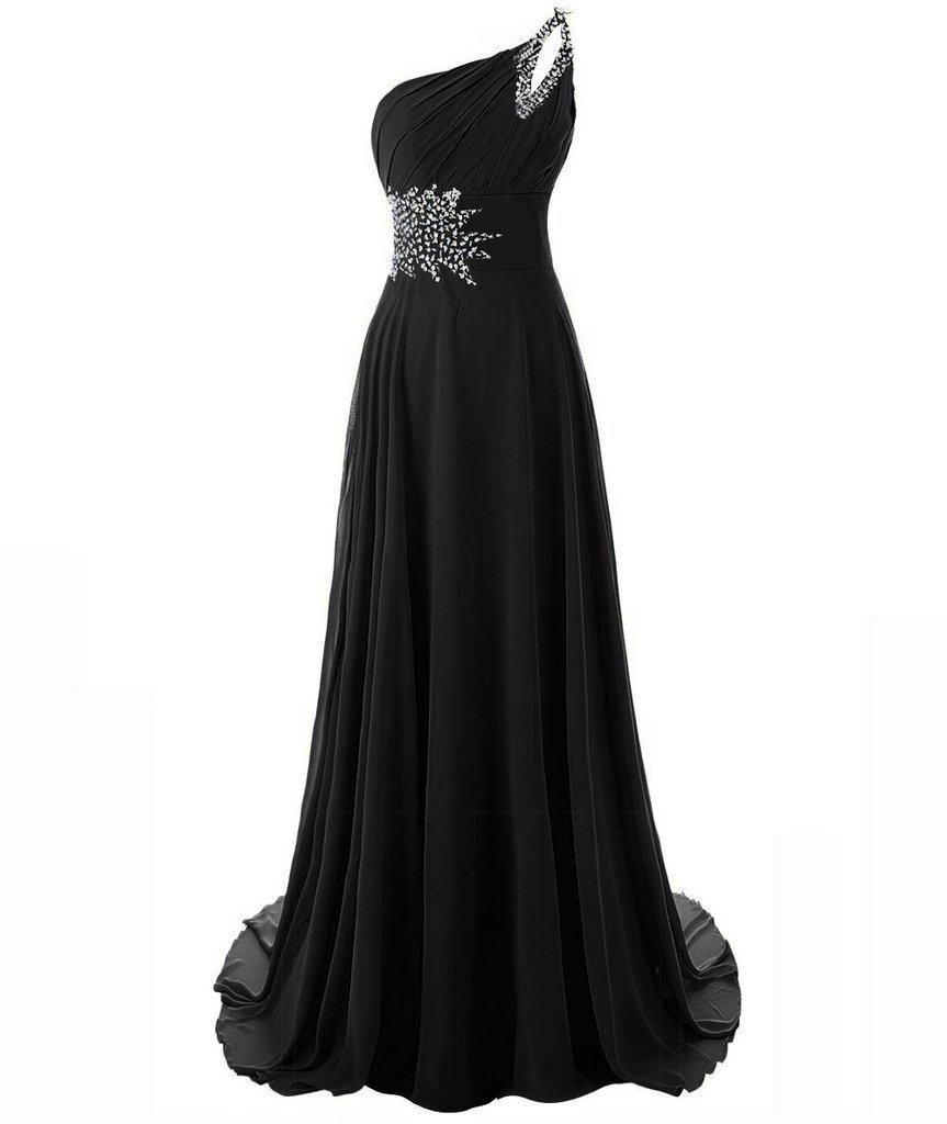 Snowskite Women's One Shoulder Long Chiffon Beading Bridesmaid Prom Dress Black 20