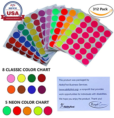 "Colored labels 1"" inch in 13 Assorted Colors - Sticker Dots 25mm one inch - 312 Pack by Royal Green"