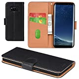 Galaxy S8 Case, Aicoco Flip Cover Leather, Phone Wallet Case for Samsung Galaxy S8 (5.8 inch) - Black