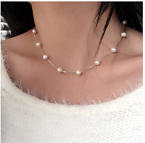 AIEDE Bridal 925 Silver Artificial Faux Pearls White Tin Cup Short Necklace]()