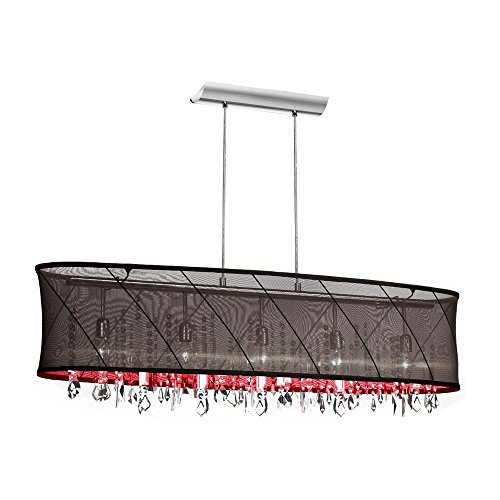 (Dainolite 5 Light Crystal Pendant with Black/Red Swirl Shade and Polished Chrome Finish, new)