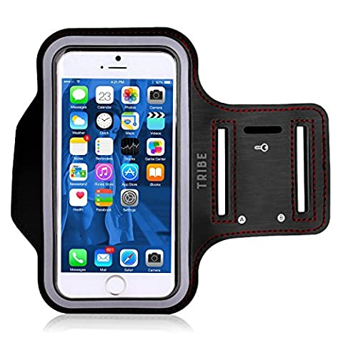 Water Resistant Cell Phone Armband: 5.2 Inch Case for iPhone 7, 6, 6S, SE, 5, 5C, 5S, and Galaxy S5, Google Pixel - Adjustable Reflective Velcro Workout Band, Key Holder & Screen (Headphones Jack Protector)