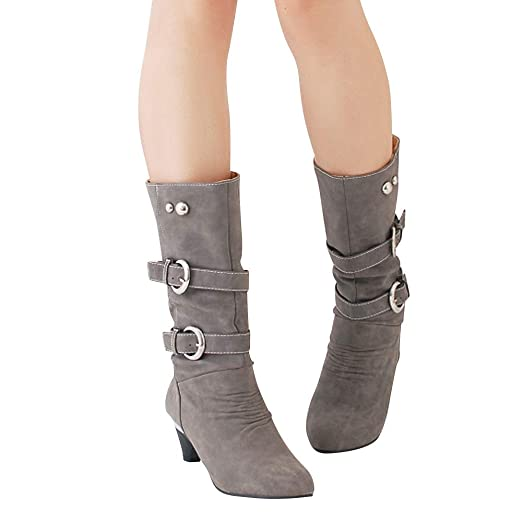 914494a5f70c Amazon.com  Gyoume Keen-Length Boots Women Buckle Boots Shoes Mid High Heel  Boots Shoes Ladies Office Work Dress Boots Shoes Beige  Clothing