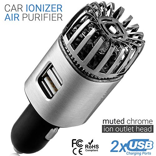 Car Air Purifier Ionizer - 12V Plug-in Ionic Anti-Microbial Car Deodorizer with Dual USB Charger - Smoke Smell, Pet and Food Odors, Allergens, Viruses Eliminator for Car (Matte Silver)
