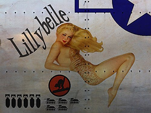 Eletina Toy WWII Art Lillybelle Airplane Nose Art Metal Sign Foxy Blonde Pinup Ww Ii Bomber Poster Nose Art