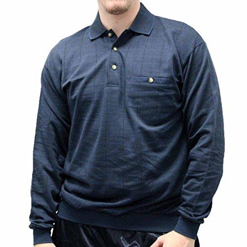 LD Sport Jacquard Long Sleeve Banded Bottom Shirt - 6096-500 Cadet Blue (Medium, Cadet (Long Sleeve Jacquard Polo)