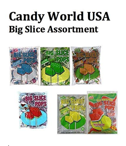 Alberts Big Slice Assorted Pops 48 Count Bag(Blue Rasp, Green Apple, Watermelon, Strawberry, Cherry, Pineapple,Peach,) With Free Jelly Beans