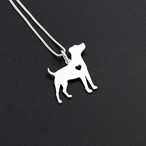 Jack Russell Terrier engavable necklace sterling silver dog breeds pendant w/Heart - Love Pet Jewelry Italian chain Women Best Cute Gift Personalized
