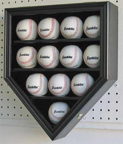 12 Baseball Display Case Wall Shadow Box Cabinet, w/Lock, UV Protection, - Cabinets Baseball Display