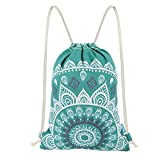 Miomao Drawstring Backpack Gym Sack Pack Mandala Style String Bag With Pocket Canvas Sinch Sack Sport Cinch Pack Christmas Gift Bags Beach Rucksack 13 X 18 Inches Teal
