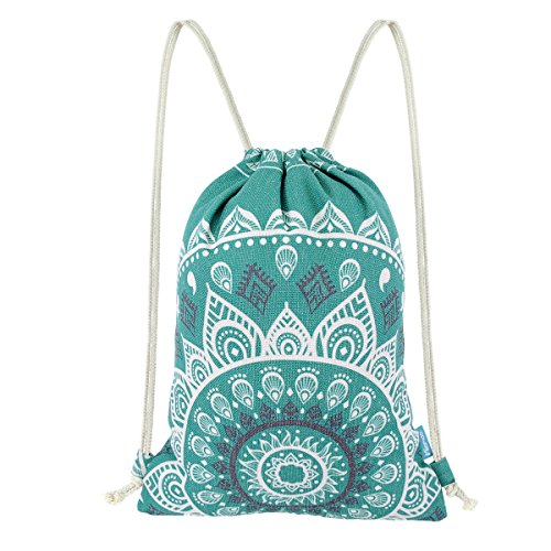 Miomao Drawstring Backpack Canvas Gym Sackpack, Geometric Mandala Style Gymsack with Zipper Pockets, Unisex Casual Bag Yoga Daypack Outdoor Rucksack, 13