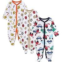 3 Pack Baby Boys Girls Footed Pajamas Sleep Overall Long Sleeve Rompers Sleep...