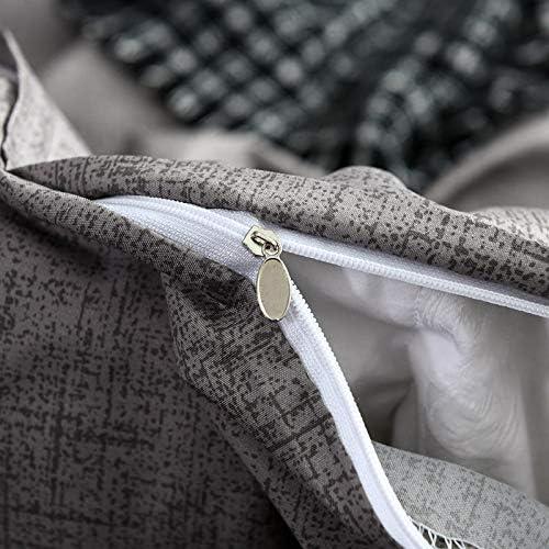 JSDJSUIT Lit Gris Simple Ensemble de Housse de Couette King Queen Size literie Textiles de Maison Couleur Unie Linge de lit pour Adultes,240x220 cm