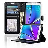 Samsung Galaxy Note 5 Case NAVOR® Wallet Case Card Slots, Money Pocket - Black