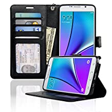 Samsung Galaxy Note 5 Case NAVOR® Wallet Case Card Slots, Money Pocket - Black