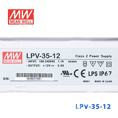 MEAN WELL LPV-35-12 Waterproof LED Power Supply 36W 12V 3A Constant Pressure