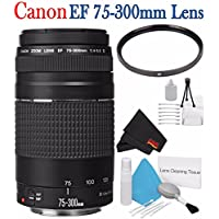 Canon EF 75-300mm f/4-5.6 III Telephoto Zoom Lens 6473A003 + 58mm UV Filter + Deluxe Starter Kit + Deluxe 3pc Lens Cleaning Kit Bundle