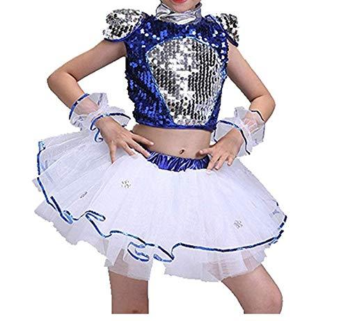 ranrann Vestido Tutú de Bailarina Ballet para Niña Traje de Danza Jazz Top Lentejuelas Falda Baile Moderno Hip Hop Disfraces Actuación Fiesta