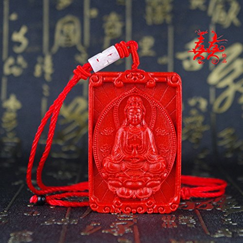usongs Taiwan natural cinnabar necklace pendant Goddess Mercy Guanyin Jingping cinnabar necklace pendant ward off evil security and -