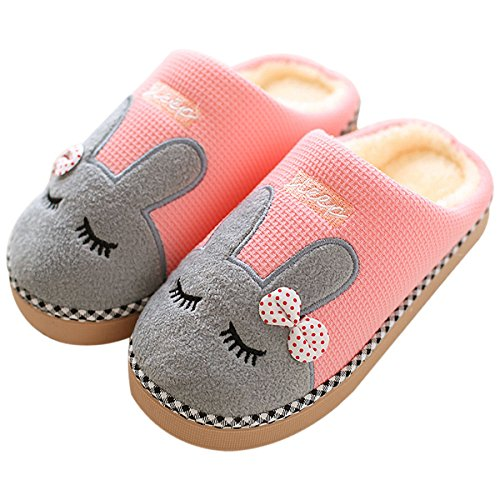 Rojeam Rabbit Slipper Comfortable Felt Slippers with footbed Winter Home Plush Slippers Cotton Warm Faux Fur Slipper Indoor Anti-Slip Shoes Womens Mens