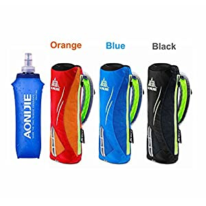 LERMX Quick Grip Chill 17 oz Handheld soft Flask Water Bottle Hydration Pack (17 oz Orange)