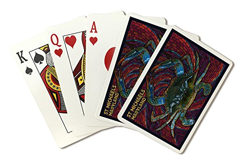 St. Michaels, Maryland - Blue Crab Paper Mosaic (Playing Card Deck - 52 Card Poker Size with Jokers) -