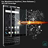 BlueArmor Full 3D Curved BlackBerry KeyOne Tempered Glass Screen Guard Protector - Jet Black [ For New Release BlackBerry KeyOne Limited Edition]