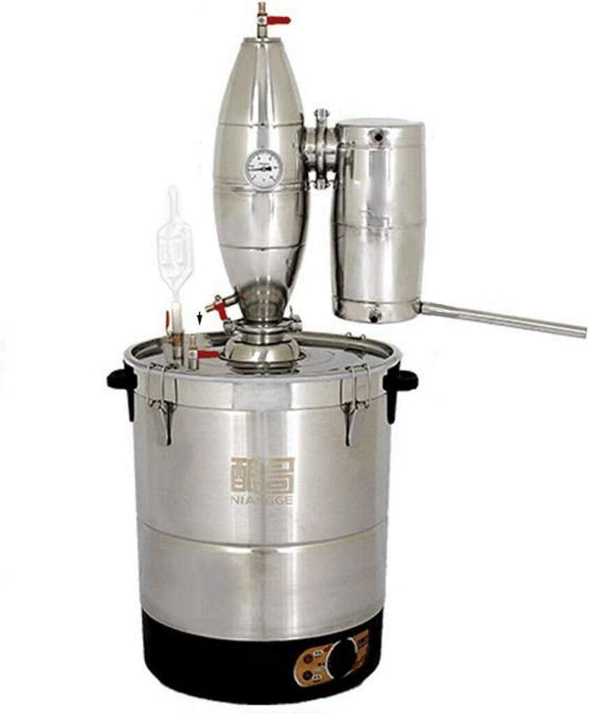hzexun Alambique Destilación Kit Automático de vinificación Alcohol Destilador para Whiskey Brandy Esencial Aceite con Termómetro Acero Inoxidable (20L)