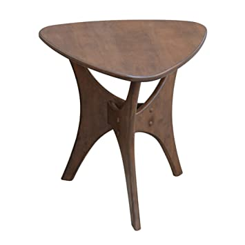 Merveilleux Mid Century Modern Triangle Wood Accent End Side Table Natural Finish    Includes Modhaus Living Pen