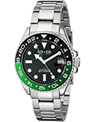SO&CO New York Mens 5021.1 Yacht Club Stainless Steel Date Luminous Hands and Markers Blue and Green Unidirectional...