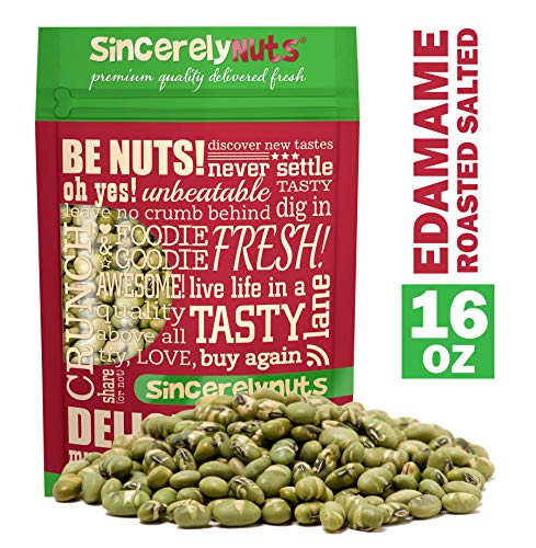 Sincerely Nuts Dried Edamame (Roasted, Salted) - (1 LB) Vegan, Kosher & Gluten - Free Food -Great for Salads & More-Plant-Powered Protein Source-Add to Granola, Trail Mix, Ice Cream, and Much More