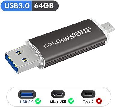 OTG Memoria USB 3.0, Colourstone 64GB Pendrive del Puerto Dual ...