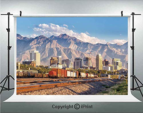 Landscape Photography Backdrops Downtown Salt Lake City Skyline in Utah USA Railroads Mountains Buildings Urban,Birthday Party Background Customized Microfiber Photo Studio Props,5x3ft,Multicolor]()