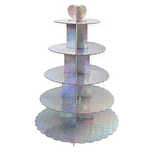 Cupcake Stand Tiered - 5-Tier Colorful Cupcake Stand Tower, Pastry Cupcake Holder, 15.5 x 22.5 x 15.5 inches]()
