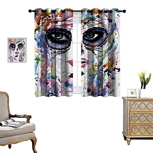 WinfreyDecor Sugar Skull Room Darkening Wide Curtains Halloween Girl with Sugar Skull Makeup Watercolor Painting Style Creepy Look Customized Curtains W72 x L45 Multicolor