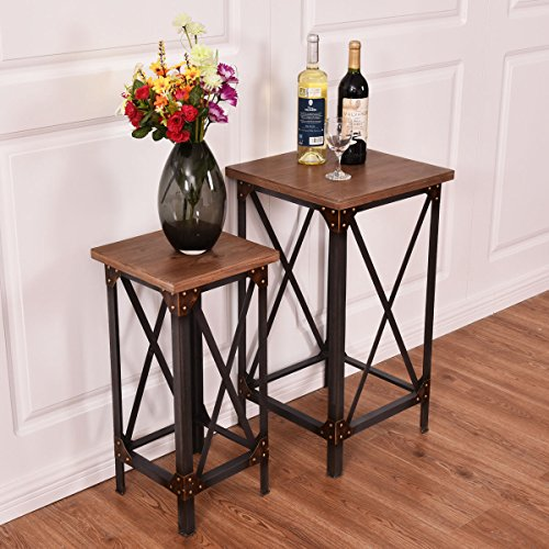 Giantex Set of 2 End Table Set Side Table Coffee Night Stand Accent Hallway Display