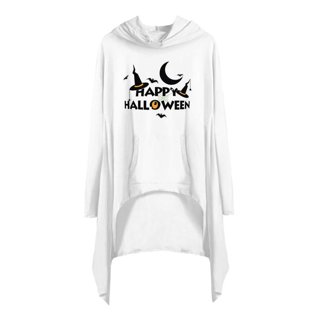 Women Dress,Meetsunshine Women Casual O-Neck Print Halloween Long Sleeve Pocket Shirt Irregula Loose Hoode Dress (White, S) by Meetsunshine Halloween