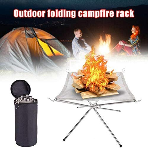 ADHG Outdoor Portable Fire Pit Rack Medium Pliable Steel Mesh Fireplace Folding Table Grill Camping Stainless Steel Point Charcoal Stove Super Light Grid Heating Wood Stove