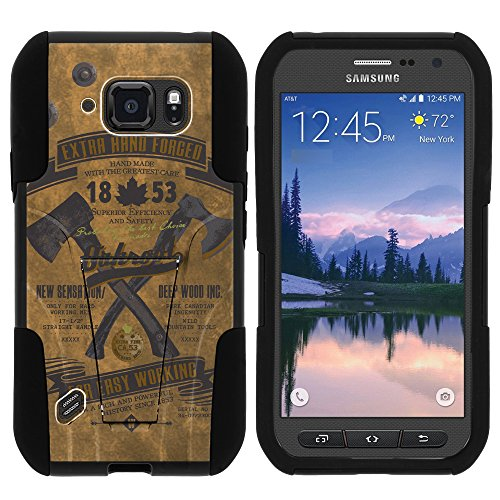 S6 Active Case, Dual Layer Shell STRIKE Impact Kickstand Case with Unique Graphic Images for Samsung Galaxy S6 Active SM-G890 (AT&T) from MINITURTLE | Includes Clear Screen Protector and Stylus Pen - Vintage Axe Tag (Trade Axe)