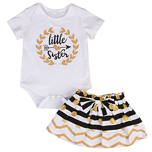 Little Big Sister Toddler Baby Girl Matching Clothes Romper T-shirt Polka dot Skirt Dress Outfits Set (0-6 months, White) - Matching Toddler Outfits