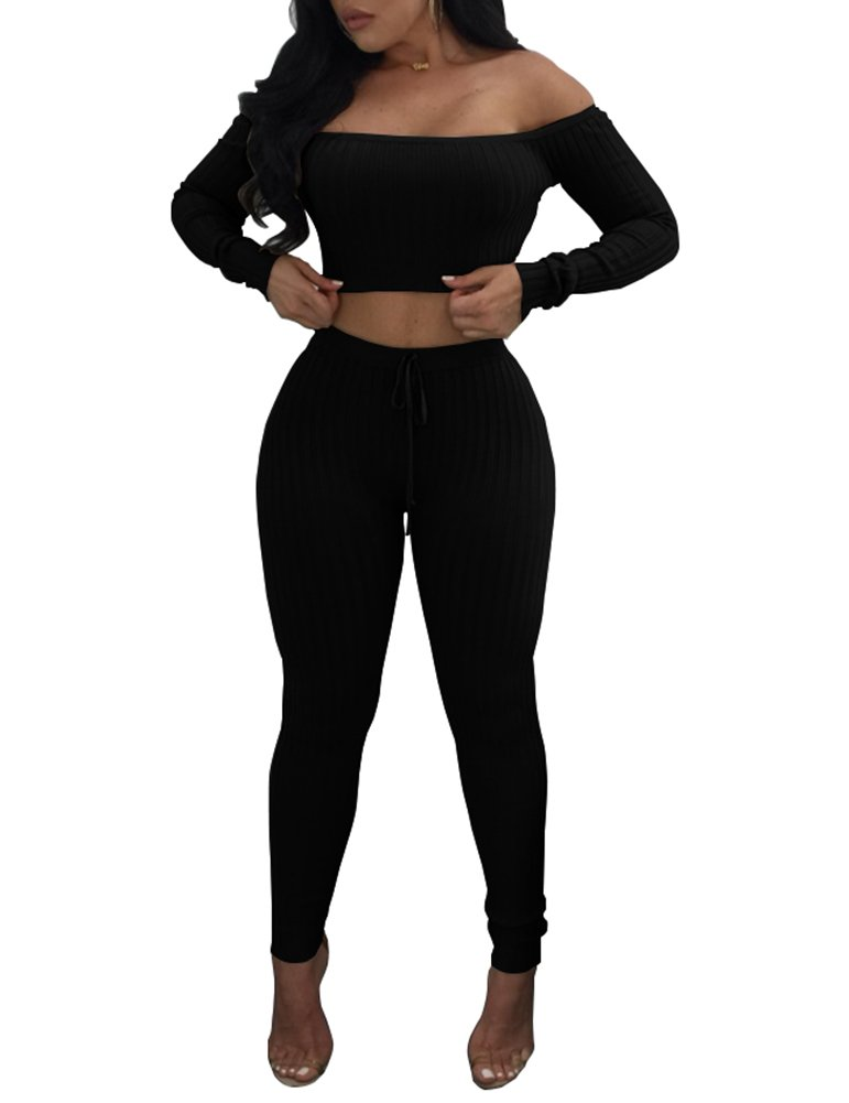 Dreamparis Women's Causal 2 Piece Outfits Ribbed Off Shoulder Crop Top + Skinny Pants Sets Clubwear Small Black