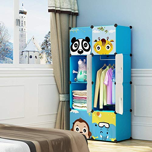 MAGINELS Magicial Panels Kids Dresser Portable Closet Wardrobe Children Bedroom Armoire Clothes Hanging Storage Rack Cube Organizer, Large & Study, Blue, 6 Cubes & 1 Hanging Section