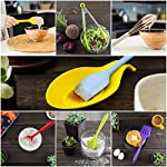 11pc Silicone Kitchen Utensil Set by CuisineFacets Colorful Cooking Utensils with Spatula, Serving Tools, Accessories and FREE Spoon Rest - Heat Resistant Spatulas and Spoons for Non-Stick Cookware 16 ✅11PC incl. FREE SPOON REST: Imagine how many colorful food creations you can now unleash all at once, because your utensil set includes everything! Silicone Wisk, Pastry Brush, 2x Spatulas, Slotted Spoon, Salad Spoon, Food Tong, All-Purpose Spoon, large Ladle, Slotted Turner, and BONUS Spoon Rest. ✅HEAT RESISTANT & EASY TO CLEAN: From the Rainbow Whisk to the Pink Pastry Brush, just pop your silicone kitchen utensils in the dishwasher to clean. Everything is made from FDA Compliant Food Grade Silicone and can withstand temperatures up to 446°F... like steaming hot pasta, pumpkin soup or pancakes. ✅WHAT'S YOUR FAVE? If you're like most people, there are always 1 or 2 kitchen tools you love the most. And if you're like us, it could even be because of color. Either way, our Cheery Utensils Set from CuisineFacets gives you the best of both - your favorite non-stick kitchen utensils, in your favorite colors too.