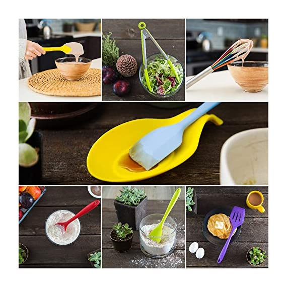 11pc Silicone Kitchen Utensil Set by CuisineFacets Colorful Cooking Utensils with Spatula, Serving Tools, Accessories and FREE Spoon Rest - Heat Resistant Spatulas and Spoons for Non-Stick Cookware 7 ✅11PC incl. FREE SPOON REST: Imagine how many colorful food creations you can now unleash all at once, because your utensil set includes everything! Silicone Wisk, Pastry Brush, 2x Spatulas, Slotted Spoon, Salad Spoon, Food Tong, All-Purpose Spoon, large Ladle, Slotted Turner, and BONUS Spoon Rest. ✅HEAT RESISTANT & EASY TO CLEAN: From the Rainbow Whisk to the Pink Pastry Brush, just pop your silicone kitchen utensils in the dishwasher to clean. Everything is made from FDA Compliant Food Grade Silicone and can withstand temperatures up to 446°F... like steaming hot pasta, pumpkin soup or pancakes. ✅WHAT'S YOUR FAVE? If you're like most people, there are always 1 or 2 kitchen tools you love the most. And if you're like us, it could even be because of color. Either way, our Cheery Utensils Set from CuisineFacets gives you the best of both - your favorite non-stick kitchen utensils, in your favorite colors too.