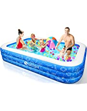 """Family Inflatable Swimming Pool, Semai 118""""x72""""x20"""" Full-Sized Inflatable Lounge Pool for Kiddie, Kids, Adults, Toddlers for Ages 3+,Swimming Pool for Backyard,Outdoor (Blue+White)"""