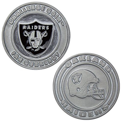 Official NFL Challenge Coin Poker Card Cover - Includes Bonus Cut Card! (Oakland Raiders)