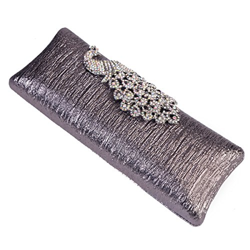 Clasp Peacock Cocktail Womens Damara Evening Hardcase Silver Rhinestone Clutch Handbag AtEwEqX